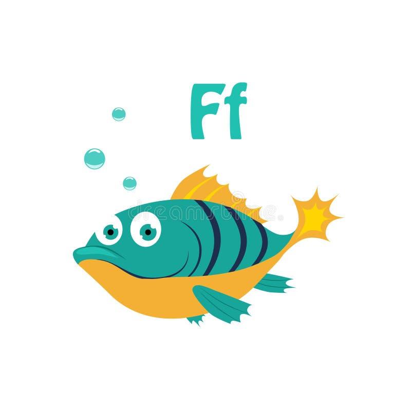Fish. Funny Alphabet, Animal Vector Illustration. Fish. Funny Alphabet, Colourful Animal Vector Illustration royalty free illustration
