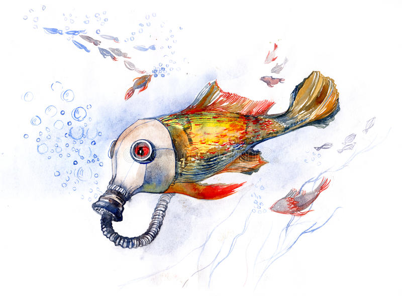 Fish with gas mask series c stock illustration for Fish head mask