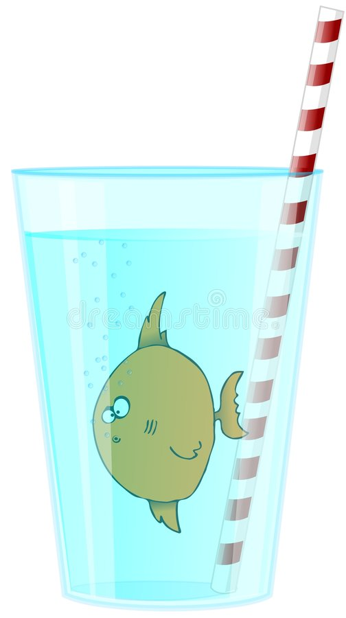 Download Fish In A Glass stock illustration. Image of straw, fish - 4590517