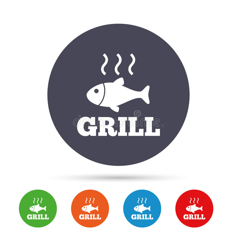 Fish grill hot icon. Cook or fry fish symbol. Fish grill hot sign icon. Cook or fry fish symbol. Round colourful buttons with flat icons. Vector vector illustration