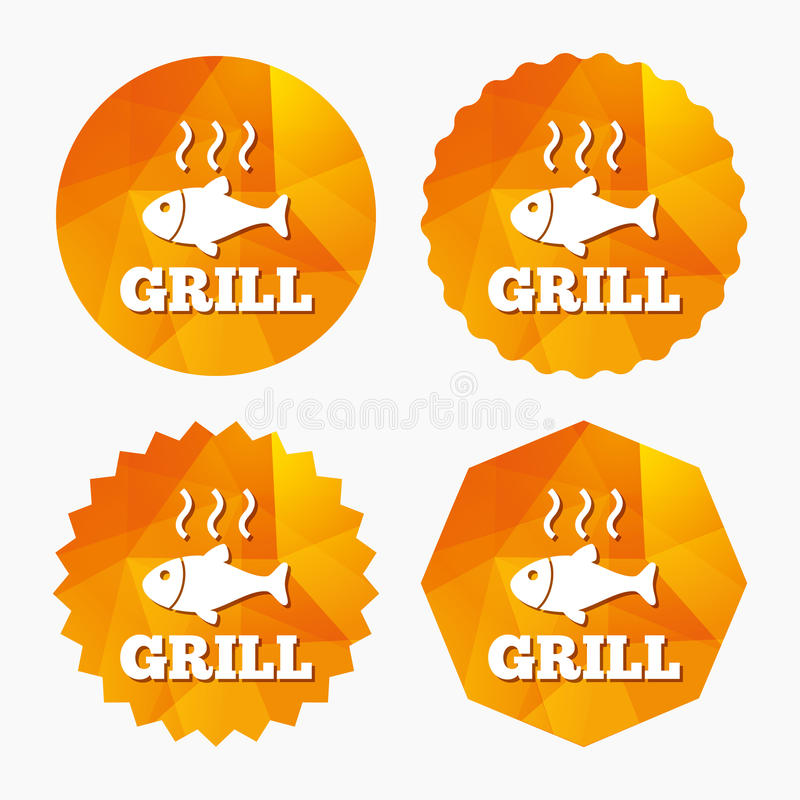 Fish grill hot icon. Cook or fry fish symbol. Fish grill hot sign icon. Cook or fry fish symbol. Triangular low poly buttons with flat icon. Vector stock illustration