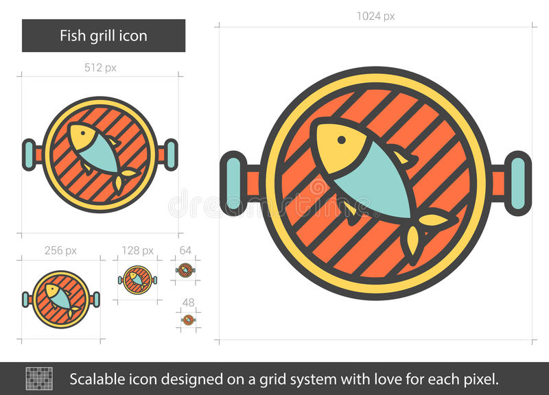 Fish grill line icon. Fish grill vector line icon isolated on white background. Fish grill line icon for infographic, website or app. Scalable icon designed on vector illustration