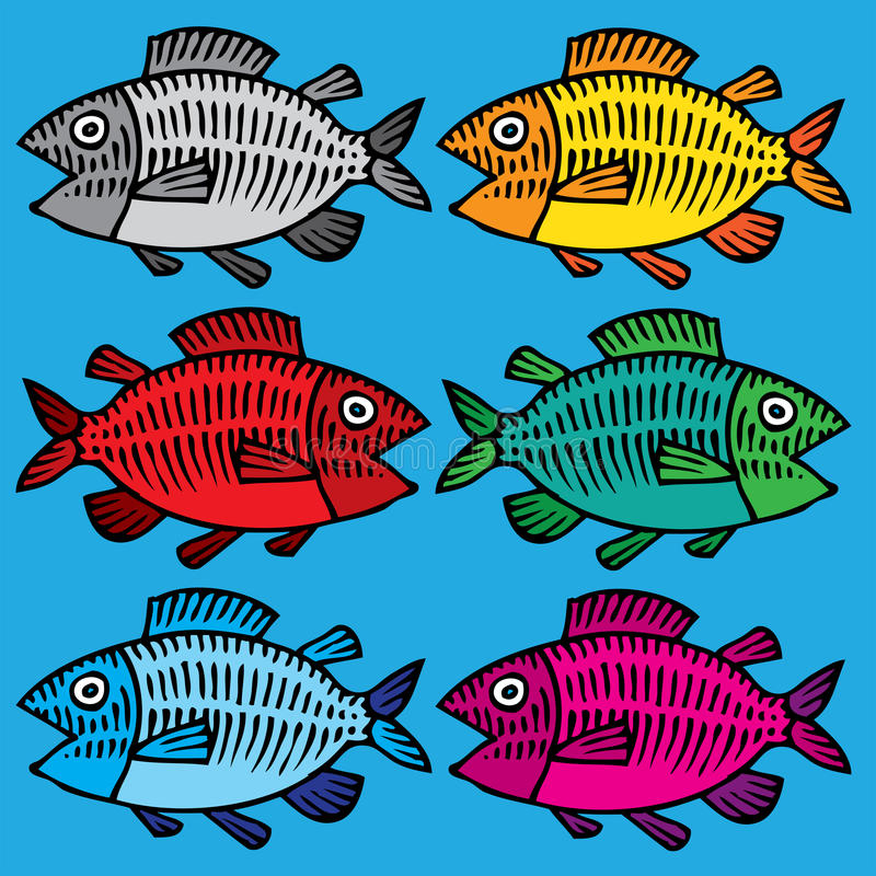Fish hand drawing colored stock illustration