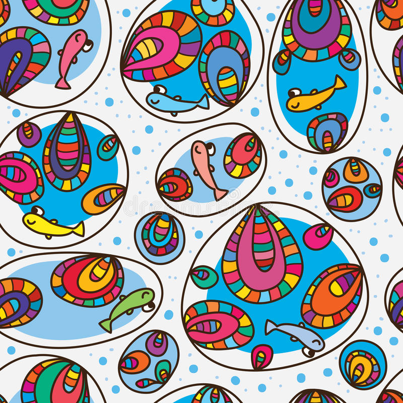 Fish happy colorful bubble seamless pattern vector illustration