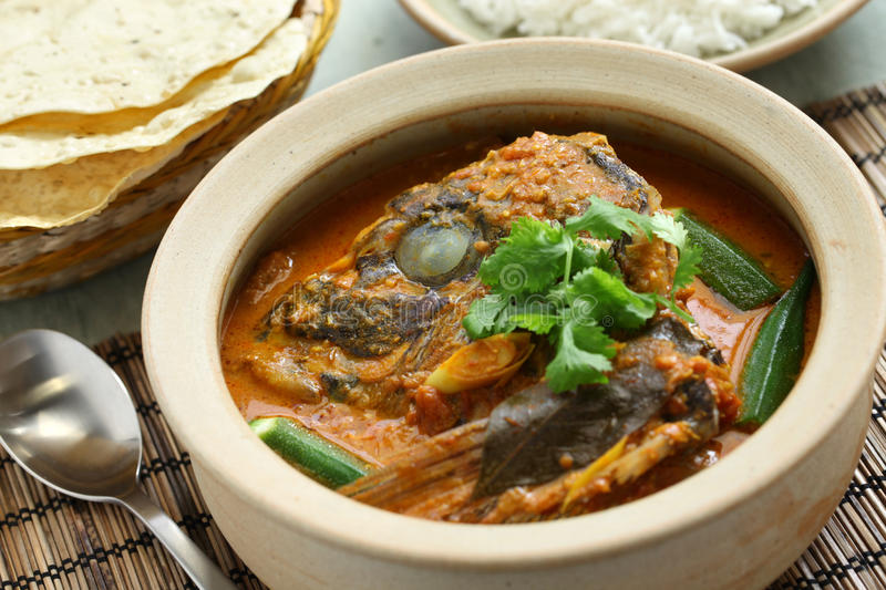 Fish head curry stock image