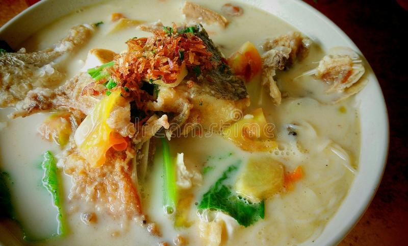 Fish head noodle soup royalty free stock photo