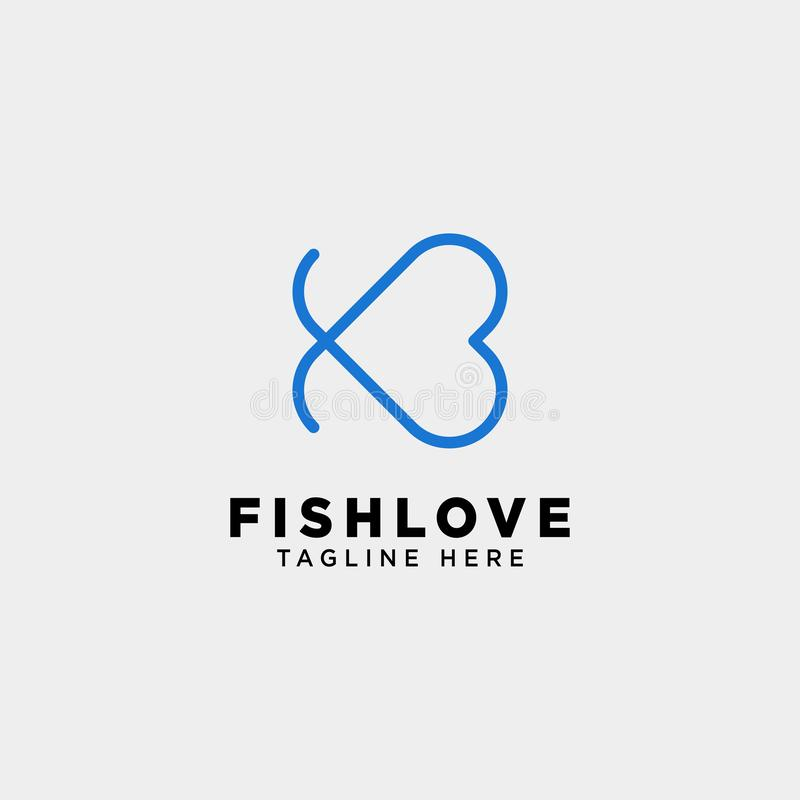 Fish heart line logo template vector illustration icon element. Isolated vector illustration
