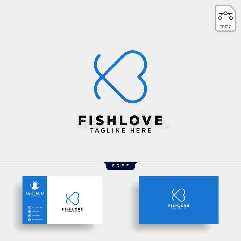 Fish heart line logo template vector illustration icon element. Isolated with business card - vector vector illustration