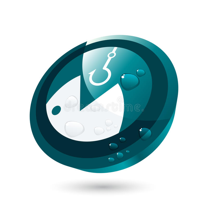 Fish and hook icon. 3D turquoise round icon design of an open-mouthed fish with a hook above in white. Isolated on a white background royalty free illustration