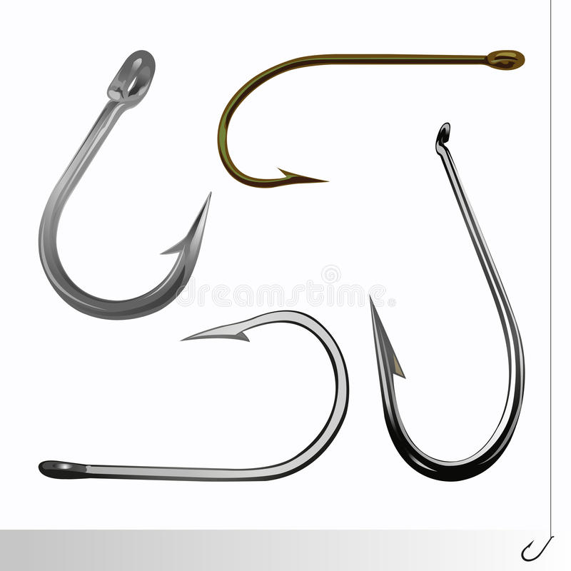 Fish hook set stock images