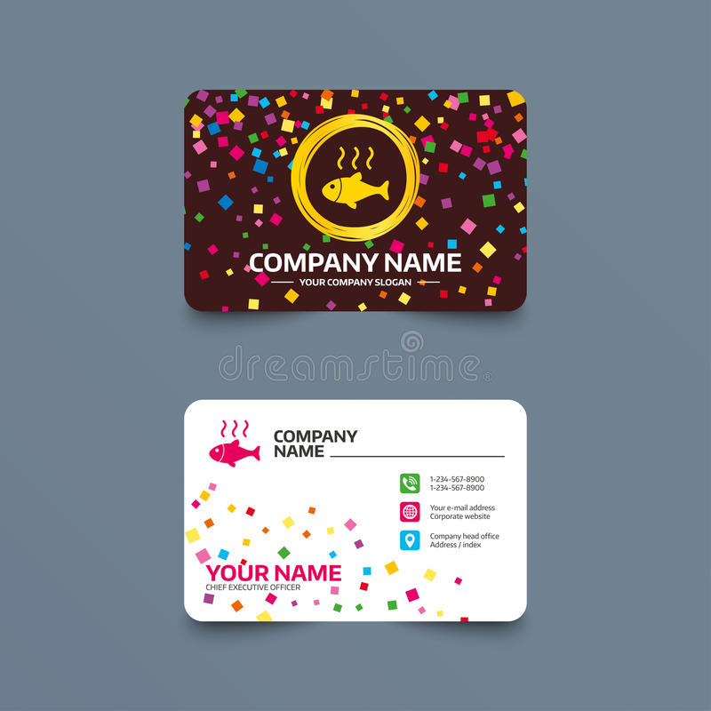 Fish hot sign icon. Cook or fry fish symbol. Business card template with confetti pieces. Fish hot sign icon. Cook or fry fish symbol. Phone, web and location royalty free illustration