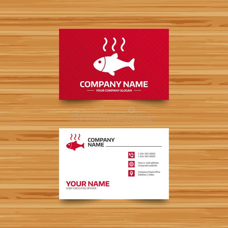 Fish hot sign icon. Cook or fry fish symbol. Business card template. Fish hot sign icon. Cook or fry fish symbol. Phone, globe and pointer icons. Visiting card royalty free illustration