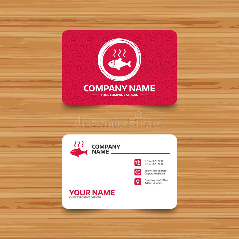 Fish hot sign icon. Cook or fry fish symbol. Business card template with texture. Fish hot sign icon. Cook or fry fish symbol. Phone, web and location icons vector illustration