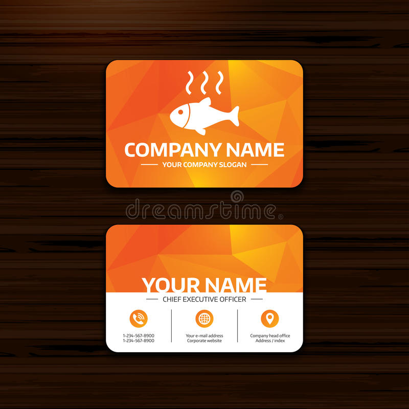 Fish hot sign icon. Cook or fry fish symbol. Business or visiting card template. Fish hot sign icon. Cook or fry fish symbol. Phone, globe and pointer icons stock illustration