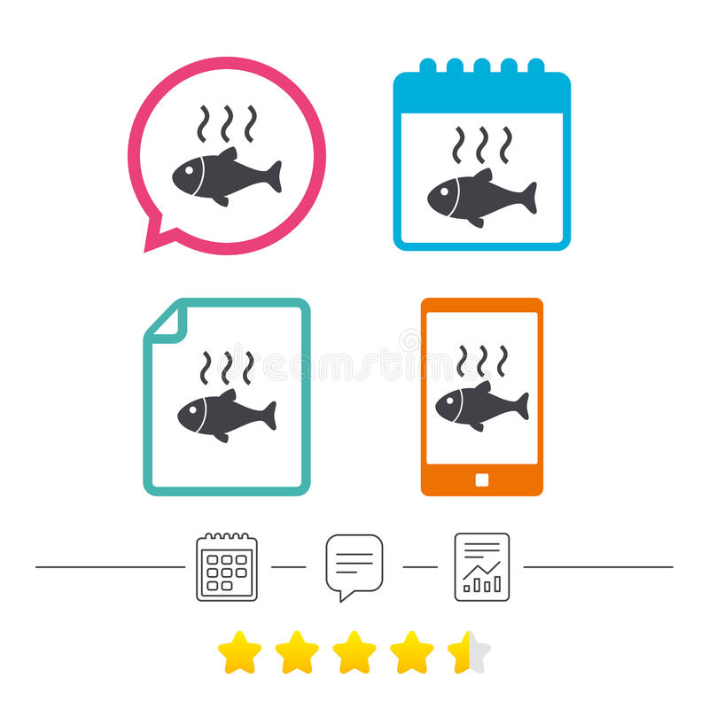 Fish hot sign icon. Cook or fry fish symbol. Calendar, chat speech bubble and report linear icons. Star vote ranking. Vector vector illustration