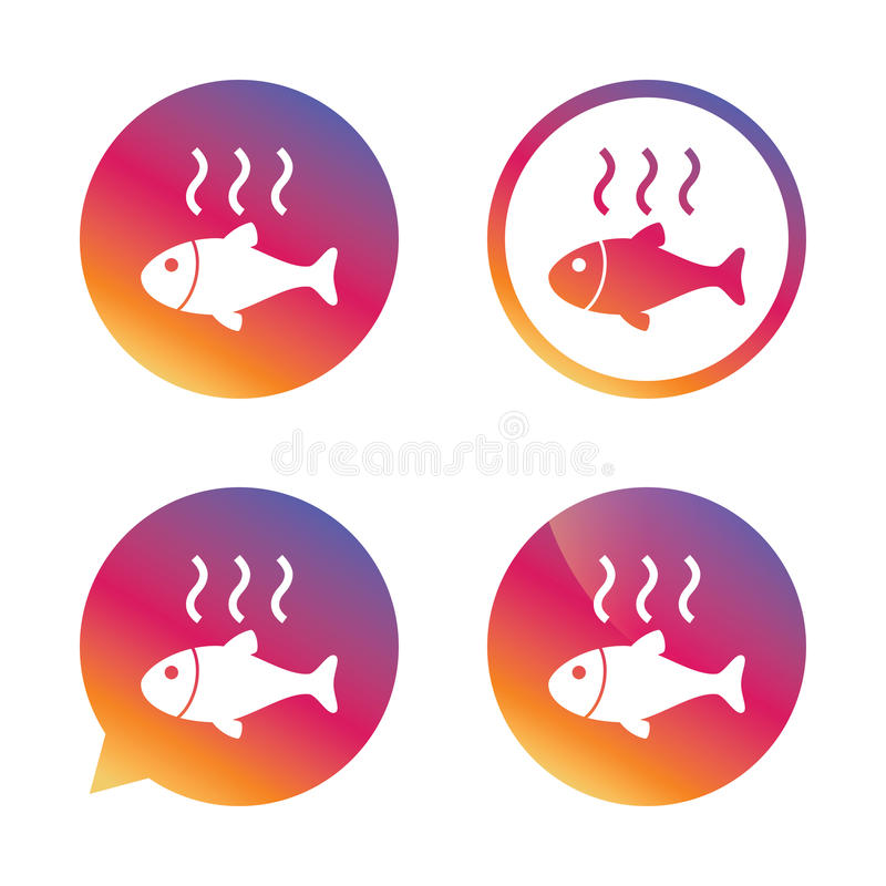 Fish hot sign icon. Cook or fry fish symbol. Gradient buttons with flat icon. Speech bubble sign. Vector stock illustration