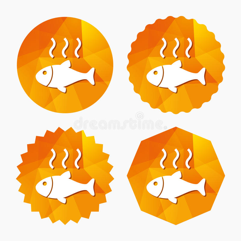 Fish hot sign icon. Cook or fry fish symbol. Triangular low poly buttons with flat icon. Vector stock illustration