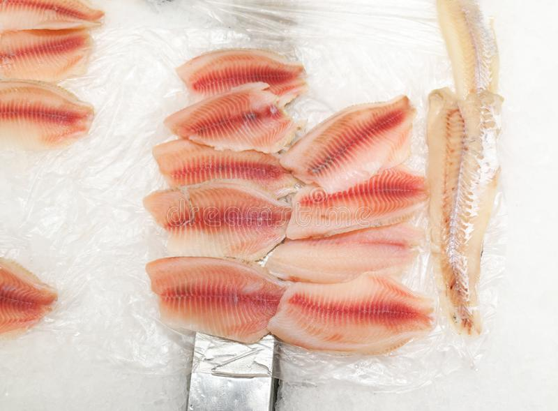 Fish in the ice in the store.  stock photo