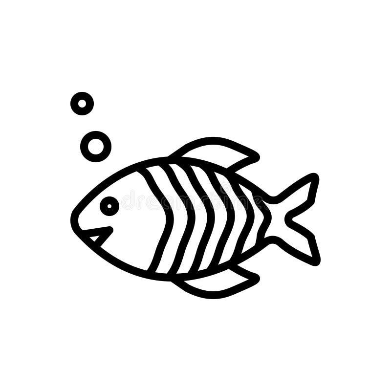 Black line icon for Fish, animal and aquarium. Black line icon for Fish, seafood, fauna, aquatic, aqueous,  animal and aquarium vector illustration