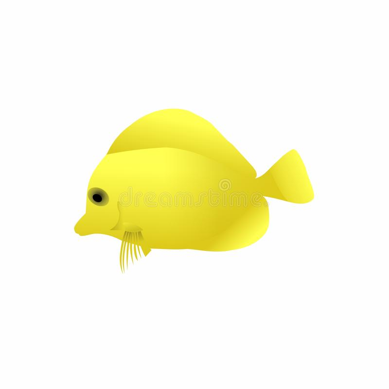 Fish icon, Cute Cartoon Funny Character with Yellow Color, Swim in water in White Background – Flat Design. This is `Fish icon, Cute Cartoon Funny stock illustration