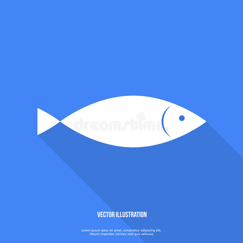 Fish Icon Flat design with shadow Vector. Illustration vector illustration
