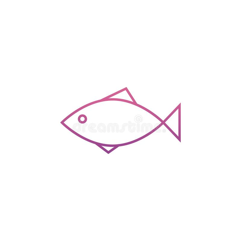 a fish icon in Neon style stock illustration