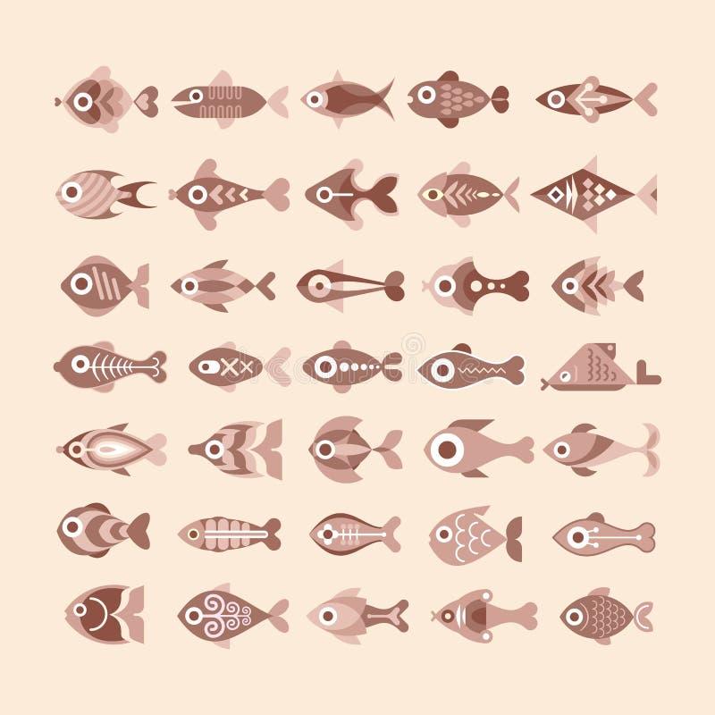 Fish icon set royalty free illustration