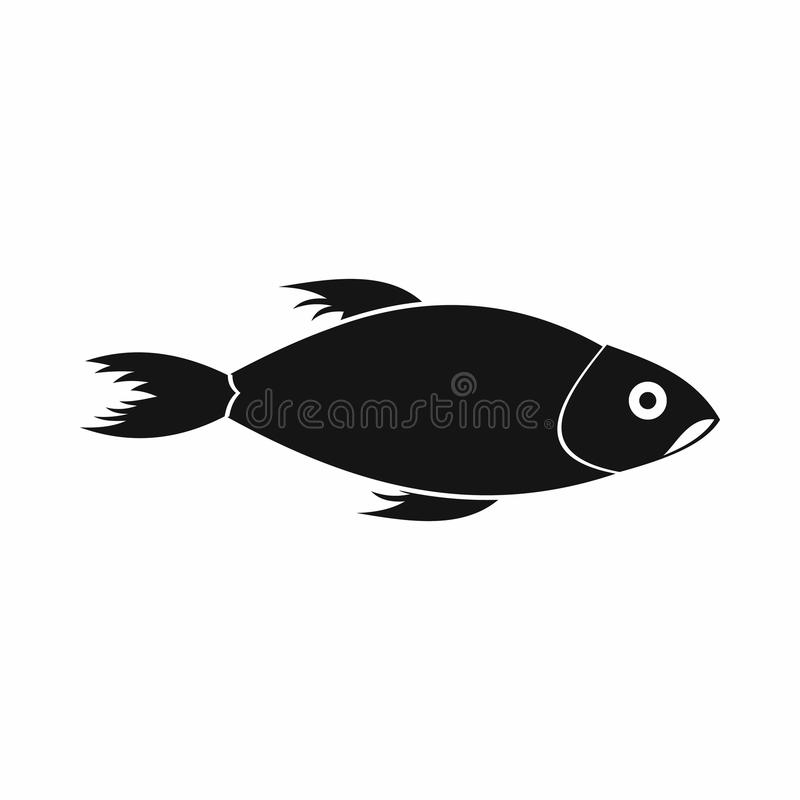 Fish icon, simple style. Fish icon in simple style isolated on white background vector illustration