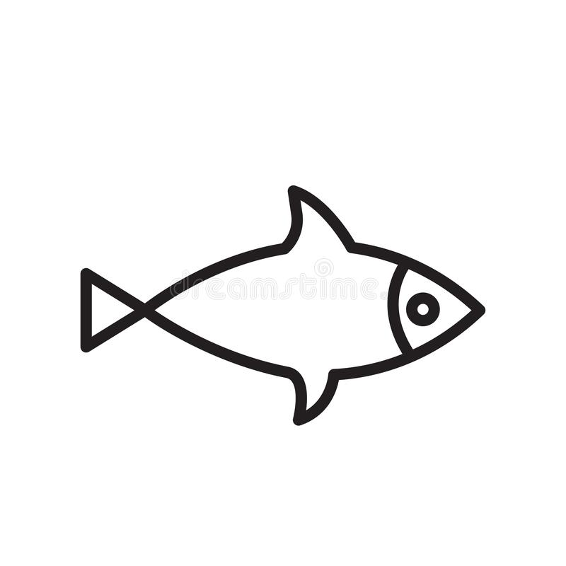 Fish icon vector sign and symbol isolated on white background, Fish logo concept stock illustration