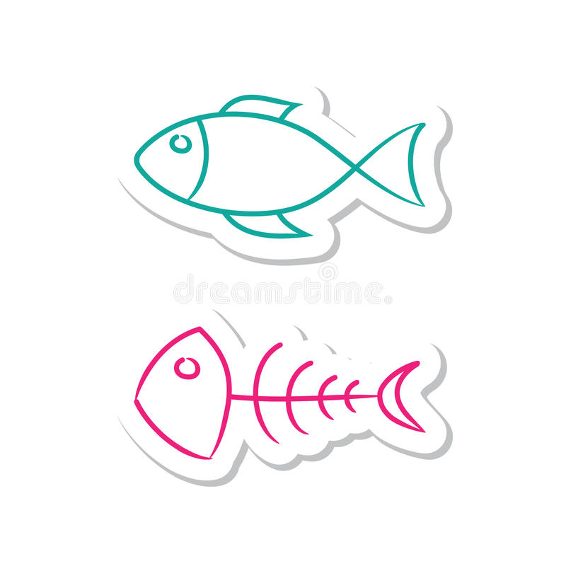 Download Fish Icons stock vector. Image of skeleton, graphic, design - 14993427