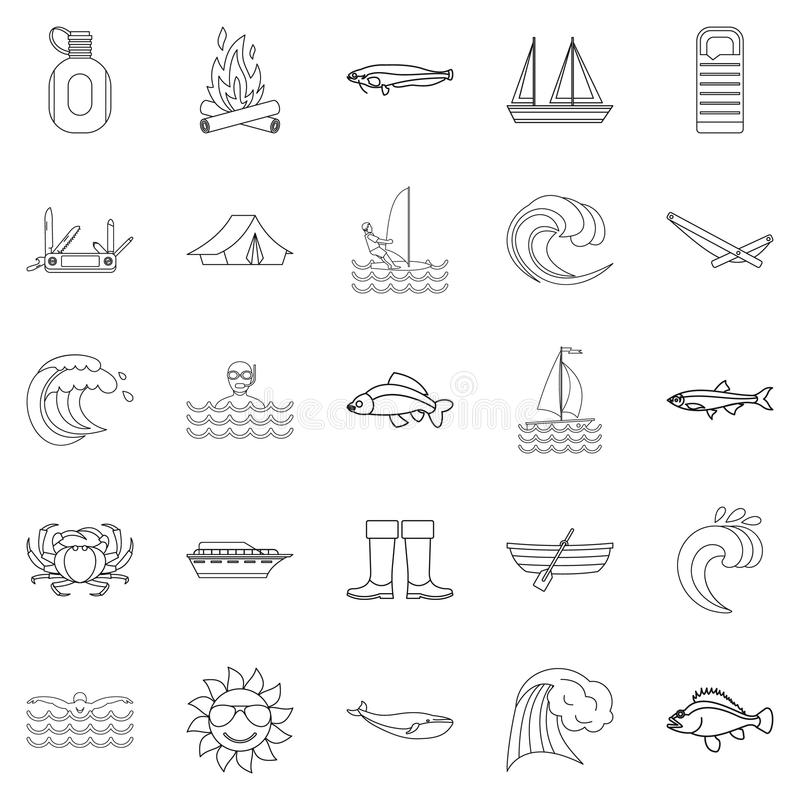 Fish icons set, outline style. Fish icons set. Outline set of 25 fish vector icons for web isolated on white background stock illustration