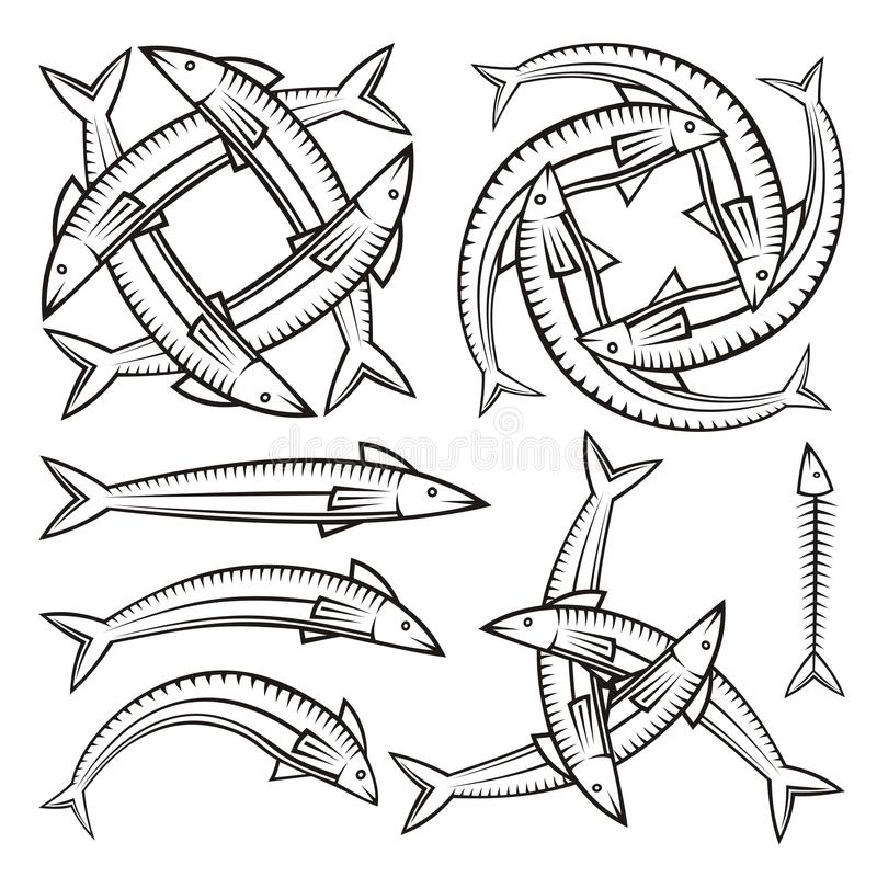 Download Fish icons stock vector. Image of illustration, vertebra - 34207071