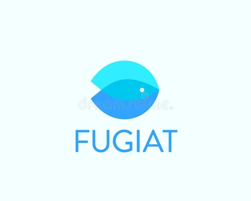 Fish idea vector logotype. Color overlap water logo. Universal sea food marine icon sign. royalty free illustration