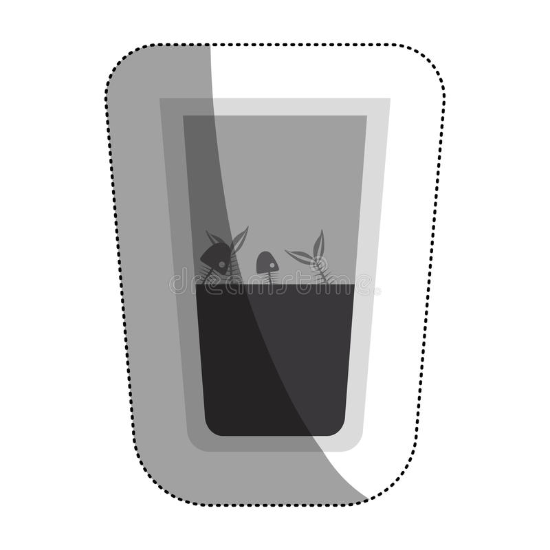 Fish inside dirty water glass. Icon. Pollution environment and ecology theme. Isolated design. Vector illustration vector illustration