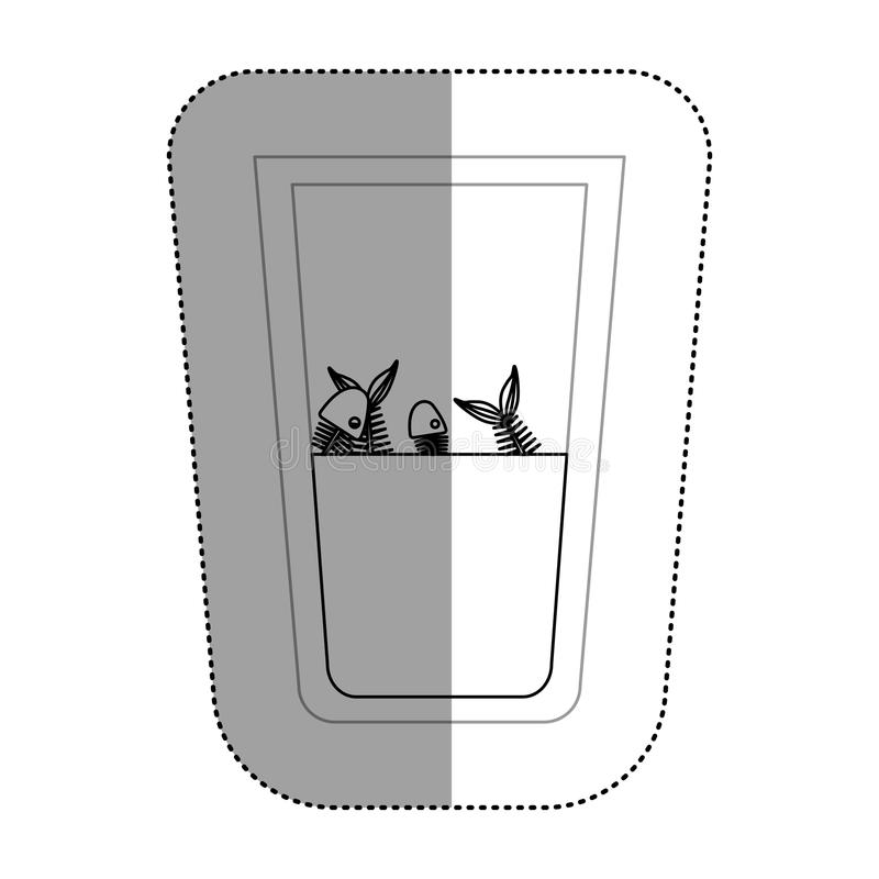 Fish inside dirty water glass. Icon. Pollution environment and ecology theme. Isolated design. Vector illustration royalty free illustration