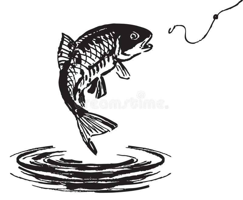 Fish jumping out of the water stock vector illustration for Dream about fish out of water