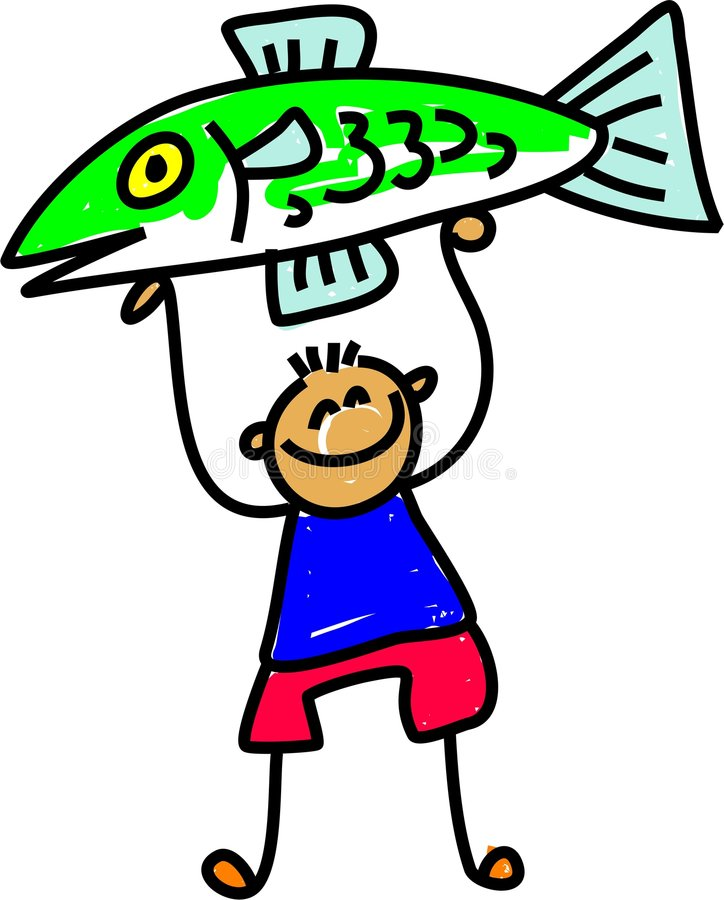 Fish kid royalty free illustration