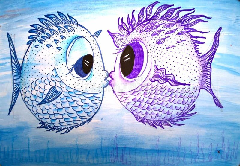 Fish Kiss - Original Painting vector illustration