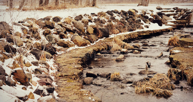 Fish Ladder in Winter royalty free stock images