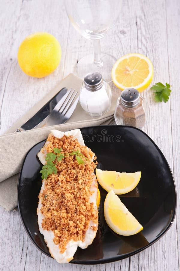 Fish and lemon stock image