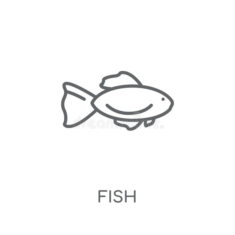 Fish linear icon. Modern outline Fish logo concept on white back. Ground from animals collection. Suitable for use on web apps, mobile apps and print media royalty free illustration