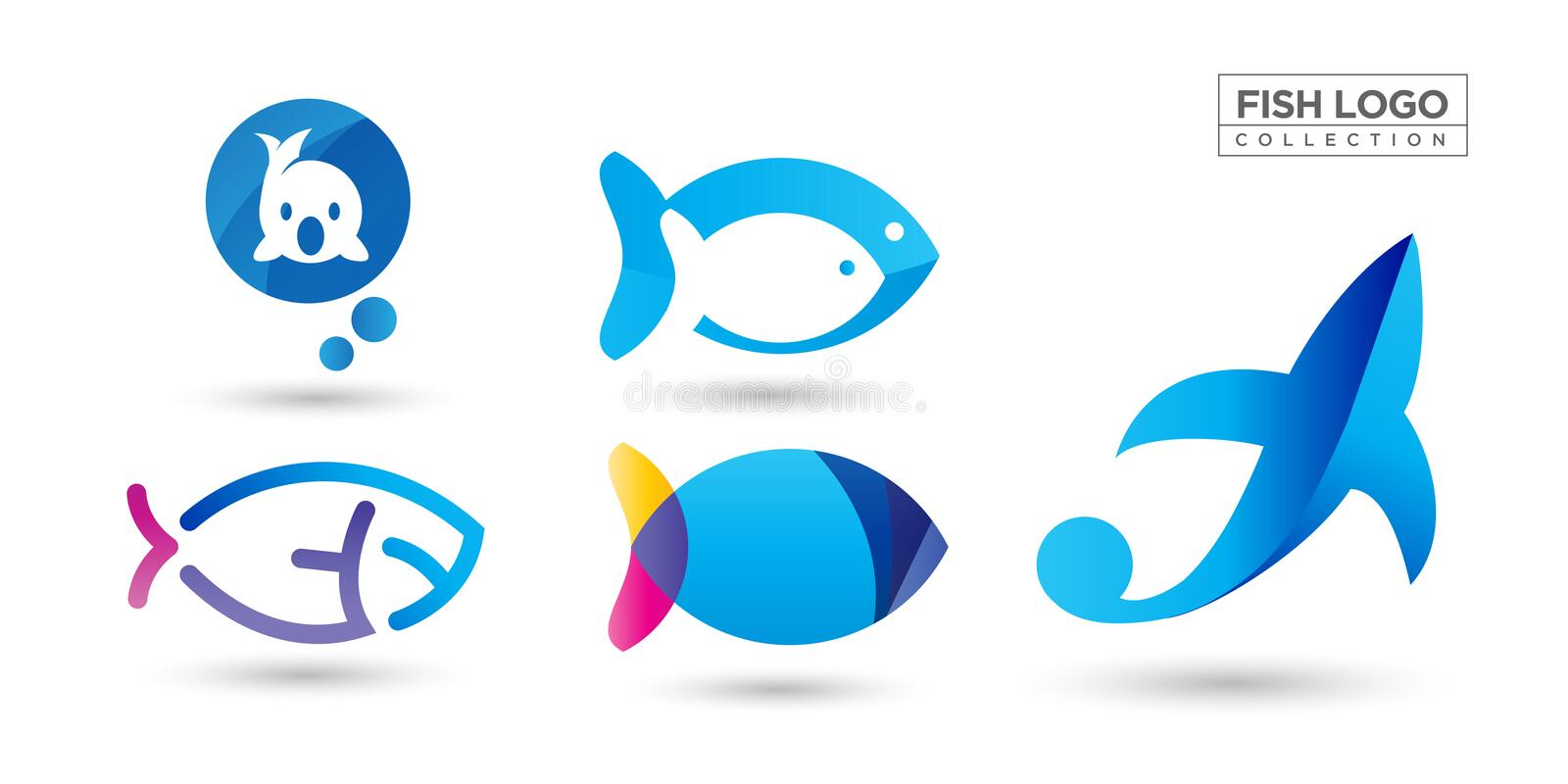 Fish Logo collection tempate design royalty free illustration