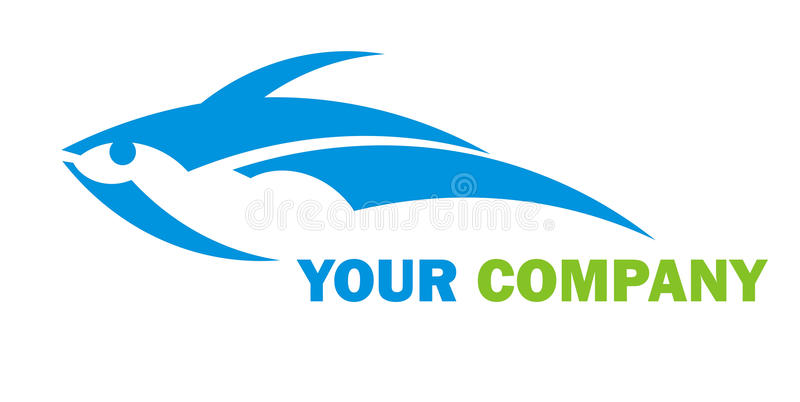 Fish logo. Blue symbol of fish on a white background. Vector illustration