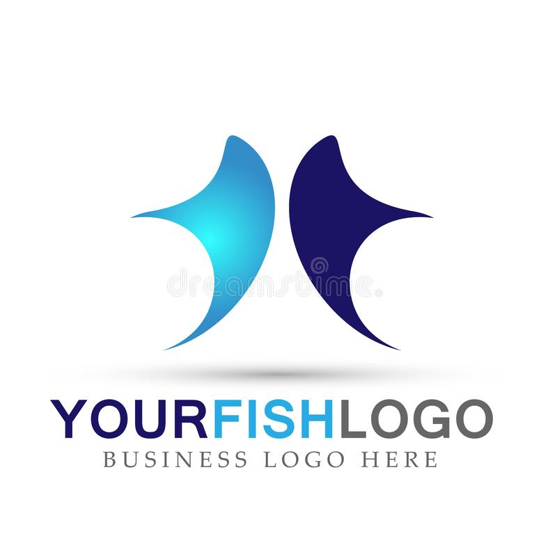 Fish logo nature symbol icon designs on white background. Ai10 illustrations for company or any type design stock illustration