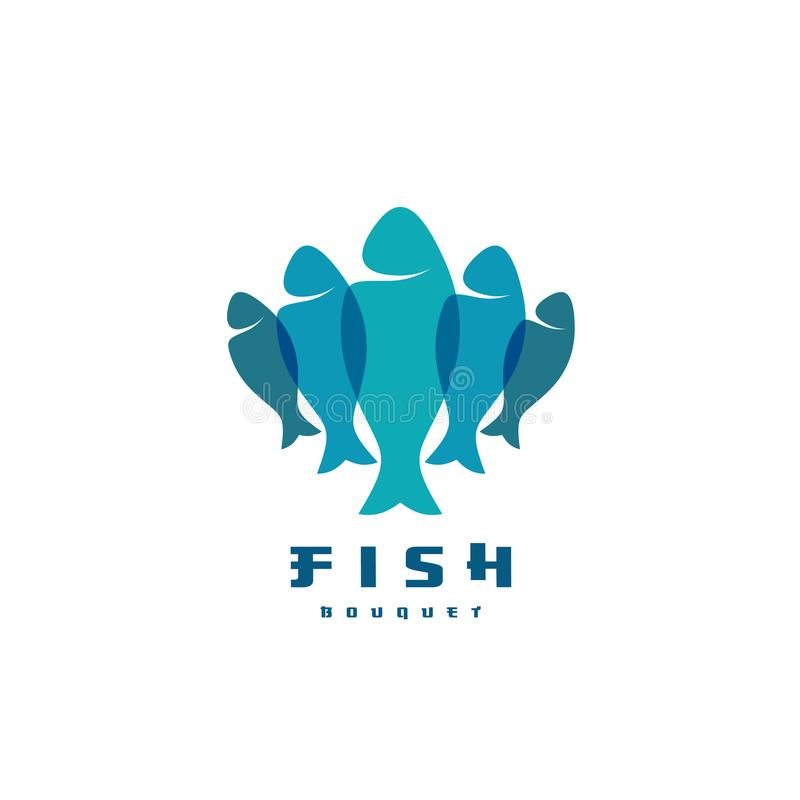 Fish logo. Several vertical shapes with overlay. Food industry symbol stock illustration