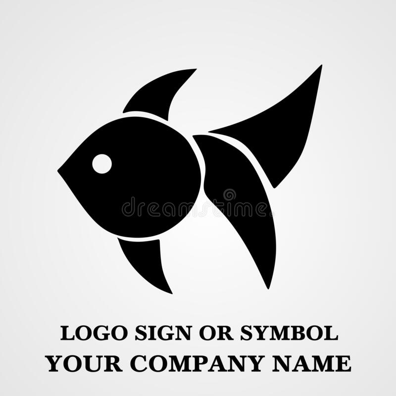 Fish logo template for design. Icon of seafood restaurant. Animals in a natural environment. Illustration of graphic flat style royalty free stock image