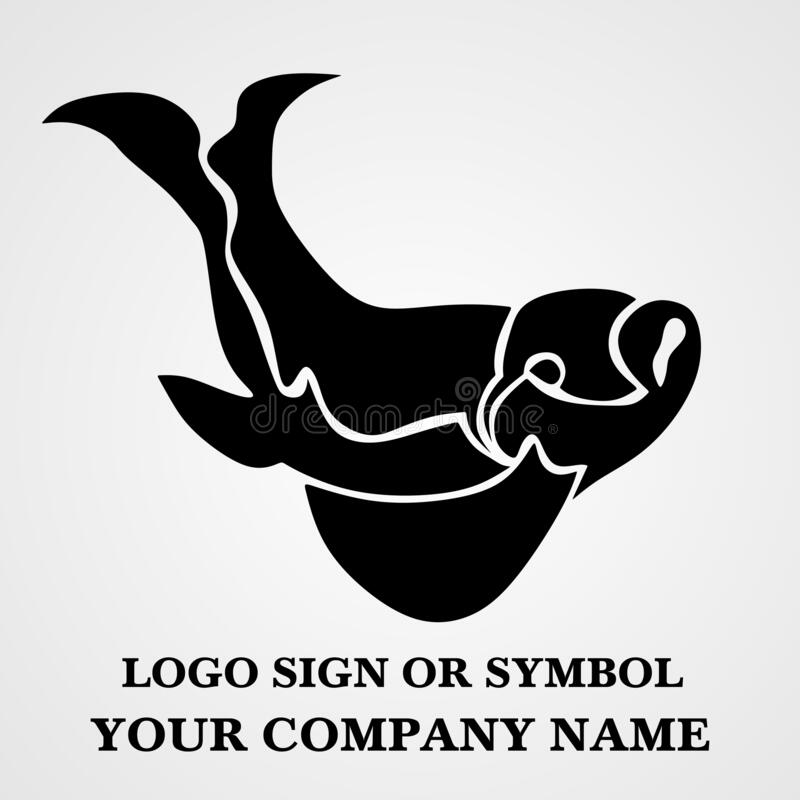 Fish logo template for design. Icon of seafood restaurant. Animals in a natural environment. Illustration of graphic flat style royalty free stock photo