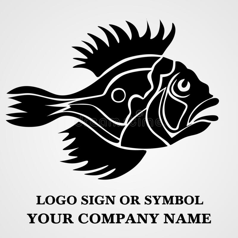 Fish logo template for design. Icon of seafood restaurant. Animals in a natural environment. Illustration of graphic flat style. Great view for fish business royalty free illustration
