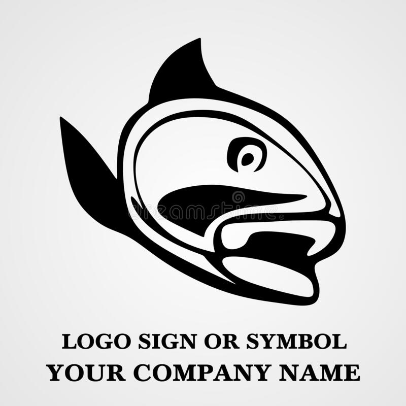 Fish logo template for design. Icon of seafood restaurant. Animals in a natural environment. Illustration of graphic flat style royalty free stock photography
