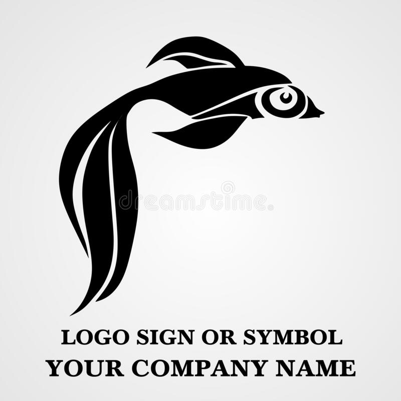 Fish logo template for design. Icon of seafood restaurant. Animals in a natural environment. Illustration of graphic flat style stock image